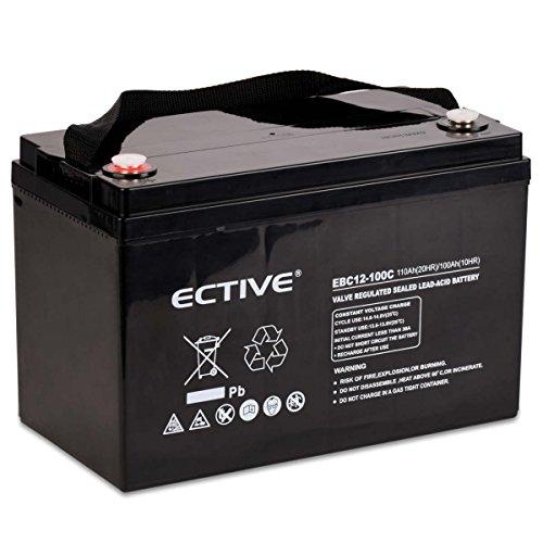 ECTIVE Bleiakku 12V 110Ah Zyklenfeste AGM Batterie Blei Akku EBC-Serie 13 Varianten: 25Ah - 280Ah (wartungsfrei)