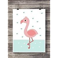 Print Wandbild Poster Bild Tierbaby Kleiner Flamingo OHNE RAHMEN Format A4