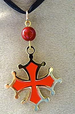 pendentif croix occitane emaillé rouge métal doré