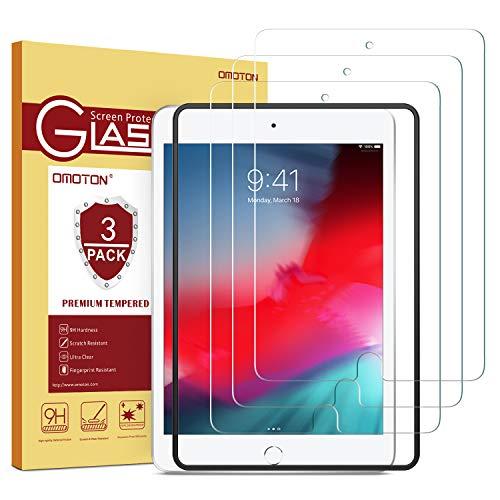 OMOTON [3 Stück] Panzerglas Schutzfolie für das Neue iPad Mini 5 2019 und iPad Mini 4, iPad Mini 5 Schutzfolie mit Schablone,9H Härte, Anti-Kratzer, Anti-Öl,Anti-Bläschen