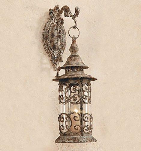 Laterne Antik - Stil / Ornament mit Wandhalterung Wandlaterne Windlicht