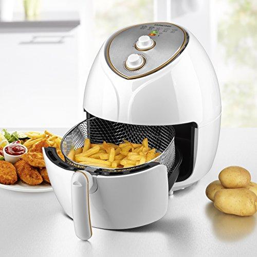 Friggitrice ad Aria XXL di Cestello 1,7L Capacità 5,5liter1800Watt Mega Power per cuocere, Fett Arm friggere senza olio, Grigliare e cuocere il pane della temperatura e timer