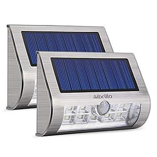 Albrillo 2er Pack LED Solarleuchten mit Bewegungsmelder, Superhelle Solarlampe mit 18 LEDs, für Garten Treppen und Terrassen, Kaltweiß, IP65 (Silber)