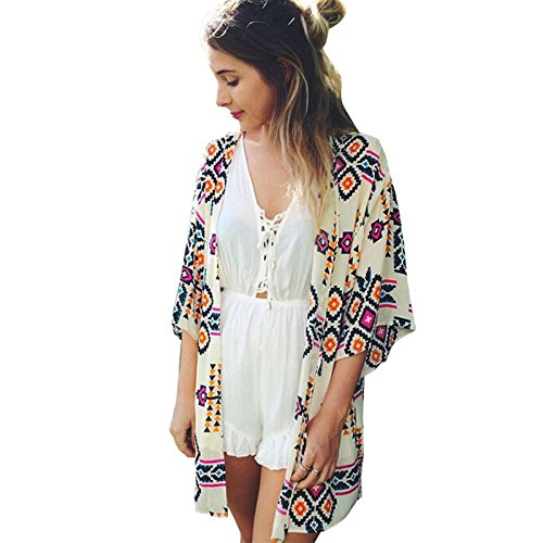 Kleidung Damen DAY.LIN Frau Geometrie gedruckt Chiffon Schal Kimono Cardigan Tops vertuschen Bluse Strickjacke im Nationalstyle (S)