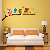 DeStudio 'Birds Singing Perched On A Branch Of A Tree' Wall Sticker (PVC Vinyl, 130 Cm X 60 Cm)-11297