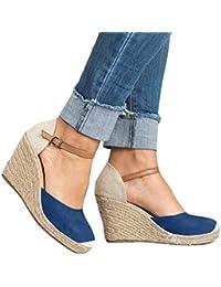 Sandalias Mujer Confort Punta Redonda Correa de Tobillo Sandalias Empalme Color Plataforma Playa Zapatos de Verano Sandalias de Cuña Negro Beige Azul