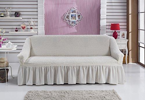 Sofaueberwurf elastisch / 3 Sitzer bezug / aus Baumwolle & Polyester in weiß / weiss. Sofabezug / Stretch Husse / Sofa Bezug / Sofabezuege / Sofa Husse / Husse / Hussen