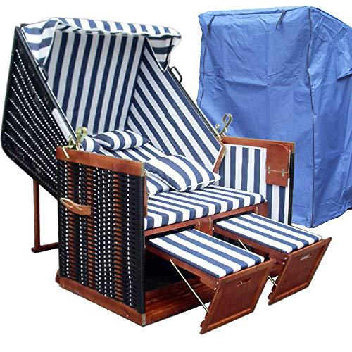 XINRO® - XY-01 - Garten Strandkorb inkl. Luxus Strandkorb Schutzhülle u. 4x Kissen, Blau-gestreifter Stoff - braunes Holz, Nordsee Strandkorb Form