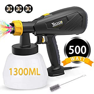 Paint Sprayer, TECCPO 500W 1300ml DIY Electric Spray Gun, with 3 Metal Spray Nozzles, Max Flow 800ml/min, Detachable Container and Adjustable Valve Knob, 100 DIN-s, for Painting Projects - TAPS02P