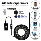 WiFi Endoscope Inspection Camera Borescope 5M 2.0 Megapixels 6 Leds 8mm 720P IP67 Tube Waterproof Inspection Camera for iPhone 7 / 7 Plus 6s/6s Plus, Samsung Galaxy s7 edge s6 Smartphone, AirBook, Windows series [Energy Class A+++] - DaSinKo - amazon.co.uk