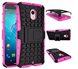 Newtronics Pink Colour Flip Kick Stand Hard Dual Armor Hybrid Bumper Back Case Cover For Motorola Moto X Style