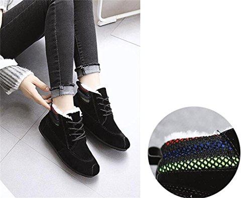 ALUK- Chaussures Hiver Bottes de neige coréenne étudiant Flat Bottes Casual ( couleur : Gray , taille : 37 ) Noir