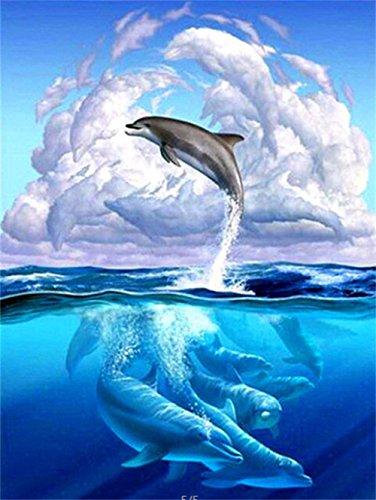 5D Diamond Painting Kit DIY Broche à rayures Cross Stitch Arts Artisanat pour décoration murale à la maison 11,8 * 15,7 pouces (30 * 40 cm) Sauter les dauphins