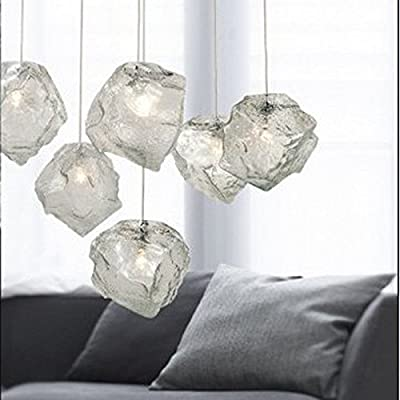 XIAOMIN 220V 15Cm*15Cm(6*6Inch) Modern Simple Creative Ice Cube Personality Glass Pendant Droplight Lamp Led 3 Lights With Adjustable Power Cord For Bedroom Dining Room Cafe Bar