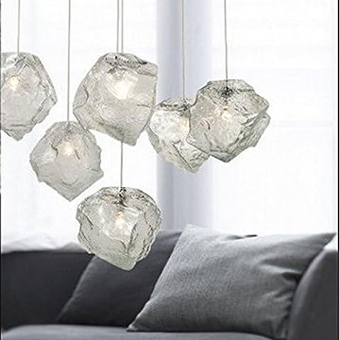 XIAOMINZI 15cm*15cm(6*6inch) 220V cavo moderno semplice creativo Ice Cube personalità vetro ciondolo calata lampada Led 3 luci con potenza regolabile per camera da letto sala da pranzo Cafe