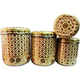 [Sponsored]Jagani Stainless Steel Handcrafted Designer Vertical Canisters With Meenakari Work Storage Containers - Set Of 4 Pcs