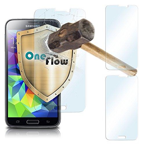 Screen Protector Glass S5 Galaxy (2x OneFlow 9H Panzerfolie für Samsung Galaxy S5 Panzerglas Display Glasfolie [Tempered Glass] Screen protector Glas Displayschutz-Folie für Samsung Galaxy S5 / S5 Neo Schutzfolie)