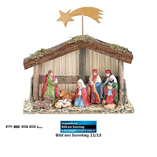 PEARL Weihnachtskrippe: Weihnachts-Krippe (10-teilig) mit handbemalten Porzellan-Figuren (Krippenfiguren)