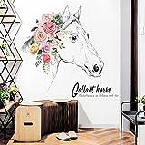Adesivo Da Parete Con Ornamento Di Testa Di Cavallo Letterario Dipinto A Mano Adesivo Da Parete Con Sfondo Della Ragazza Semplice Tv