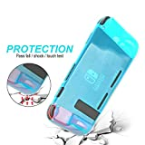 Nintendo Switch Case, Protective Cover Case with Shock Absorption and Anti-Scratch Design -Comfortable TPU Back Cover for Nintendo Switch Console with 8 Thumb Grips Caps (Blue)