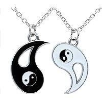 Yin Yang Collana, Ciondolo Tai Chi Collana Per Uomo e Donna Catena Amicizia Yin Yang Coppia Di Catena, 2pcs Acciaio…