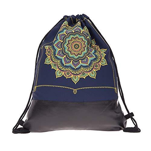Creativee Teenager-Rucksack mit Kordelzug, voll Bedruckt, Turnbeutel für Mann und Frau, modischer Schul-Rucksack, Lederboden, Faltbare Tasche für Reisen oder Sport, Mandala Frame