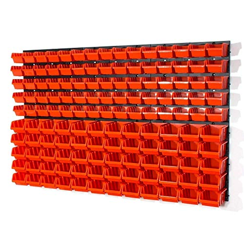 Lager Werkstatt Wandregal Lagerregal 75 Stapelboxen Orange Gr.1, 60 Stapelboxen Orange Gr.2 + Organizer - Kleinteile Schubladen