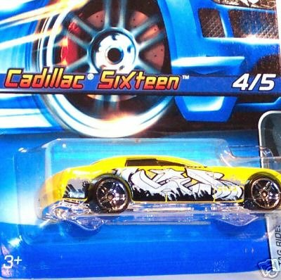 Hot Wheels - 2006 - Tag Falten - 4/5 Cars - Cadillac Sixteen - Yellow Custom Paint - # 074 - Limited Edition - Collectible