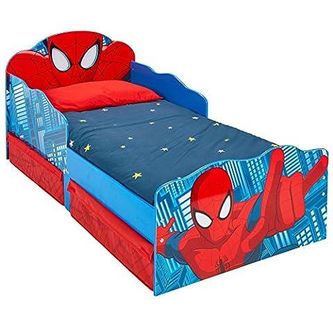 Lit pour garçons Spider-Man avec yeux lumineux et rangement sous le lit