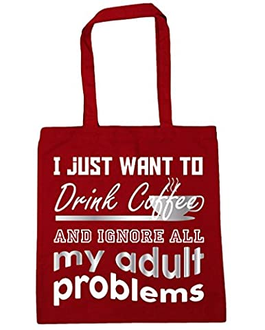 HippoWarehouse I Just Want To Drink Coffee And Ignore All My Adult Problems Tote Shopping Gym Beach Bag 42cm x38cm, 10