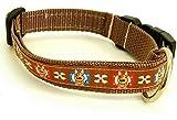 KonsumSchwestern Hundehalsband hellbraun mit - BULLDOGGE - Breite: 2,5 cm - Länge verstellbar von ca. 33 cm bis ca. 57 cm - Größe: L - mit Steckschließe und D-Ring - Hunde-Halsband