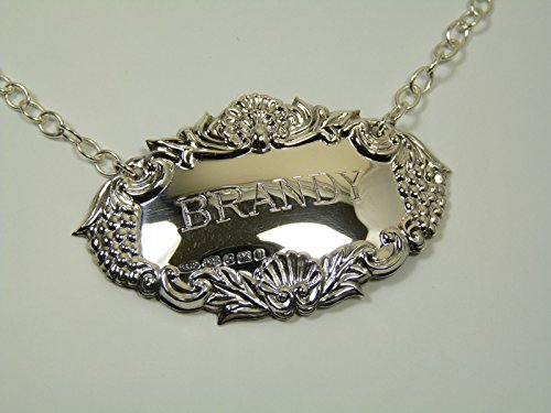 NEW Sterling Silver Grapes DECANTER / Wine Label - BRANDY - Boxed by Broadway Silversmiths Brandy Decanter