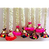 Anayas Studio Door And Wall Hanging Toran Bandherwal Designer Handicrafts Decoration - 6 Inch Bell Of Rajasthani Gota Mirror Work N Pompom And Multi-colour Jasmine/18 Inch /Diwali /Home Wall Decor-Set Of 2 Hangings (White, 12 Inches)