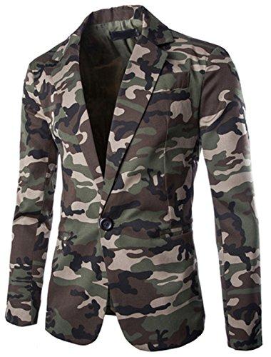 Bevalsa Modisch Herren Anzug Jacke Sakko Slim Fit Blazer Business Freizeit Smoking Camouflage Freizeit Casual Kostüme Festliche Sakko Gr.48-54