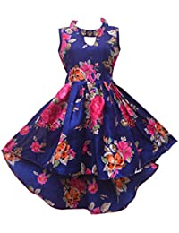 Renish Enterprise Navy Blue Print Girls' Dress