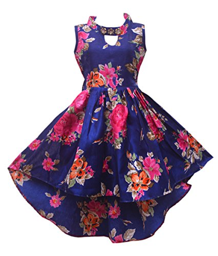 Renish Enterprise Girls Navy Blue Print Frock Party Wear Dress (RE151) (7-8 Years)