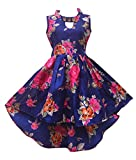 #5: Renish Enterprise Girls Navy Blue Print Frock Party Wear Dress (RE151)