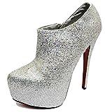 Damen Silber Plateau High-Heels Chelsea Knöchel Reißverschluss Stiefel Abendschuhe Größen 3-7 - Silbern, 6 UK / 39 EU