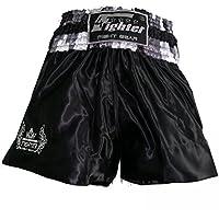 4Fighter Muay Thai Shorts camouflage negro-gris-blanco con el trobal logotipo, Talla:XXXL