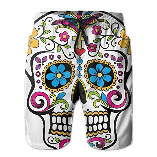 Azfaiop Flower Sugar Skull Men's Beach Shorts Swim Trunks Quick Dry Boardshorts with Mesh Lining XL -