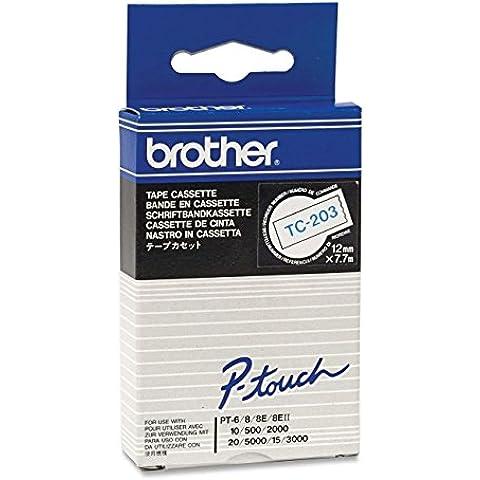 Brother Gloss Laminated Labelling Tape - 12mm, Blue/White - Cintas para impresoras de etiquetas (Blue/White, TC, 1,2 cm, 7,7m)