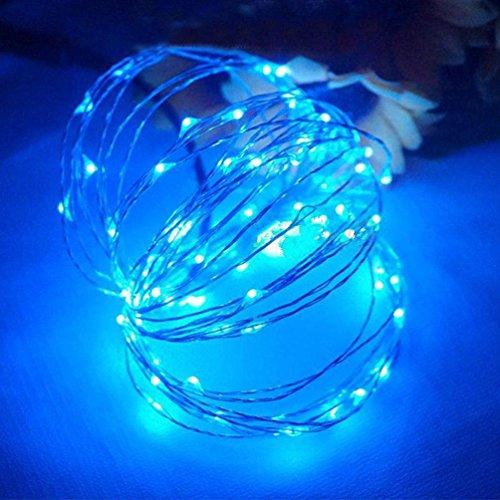 Hunpta 100 LED batteriebetriebene Kupferdraht Fairy String Licht Weihnachten wasserdicht (Blau)