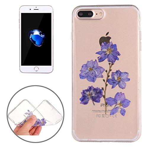 Phone Case Hülle Für iPhone 8 Plus / iPhone 7 Plus Epoxy Dripping gedrückt echte getrocknete Blume weichen transparenten TPU Schutzhülle für iphone 8 plus / 7 plus ( SKU : Ip7p0996d )