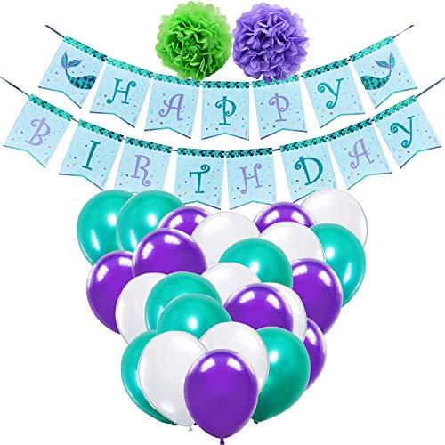 WERNNSAI Meerjungfrau Partyzubehör - Süß Party Deko für Kinder Mädchen Geburtstag Meerjungfrau Thema Party Funkeln Banner Lila Grün Weiß Latex Ballon Band Pom Poms 35 Stück