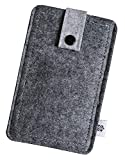 Dealbude24 Filz Tasche in Grau passend für Samsung Galaxy A5 (2016) mit Hülle, Hochwertige Handy Hülle, Schutz Cover mit Herausziehband und Drucknopf, reißfestes Etui - L