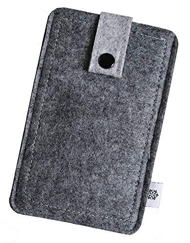 Filz-Tasche in Grau für Apple Iphone 5 und 5S mit Hülle, Hochwertige Handy-Hülle, Schutz-Cover mit Herausziehband und Drucknopf, reißfestes Schutz-Etui - S Dealbude24