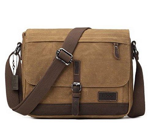 Troop London Heritage Trp0443 Toile avec garniture en cuir Messenger Bag, Sac de Voyage, tablette Friendly ║ H28 X W31 X D9 cm