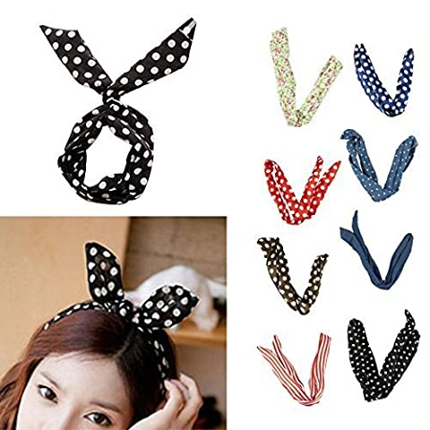 Voberry® Pretty Cute 8pcs /lot Different Colors Rabbit Bunny Ear Girl Hair Headband Scarf DIY Wire Band Bow Head Wrap Assorted Colors by HP95(TM)