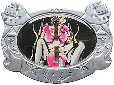 Buckle Girl with Guitar & Electric Guitar, Rock N Roll, tattoo