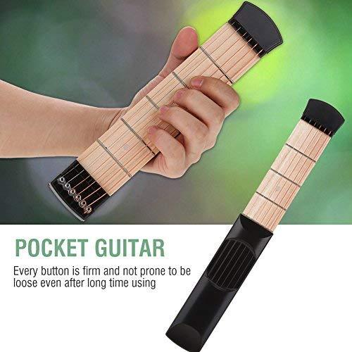 Dilwe Entrenador de Guitarra, Portátil 6 Fret Pocket Guitar Práctica Chord Trainer Muñeca Dedo Ejercitador Kit Herramientas de Entrenamiento
